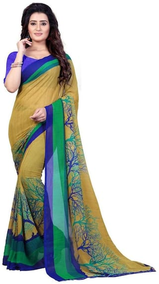Anand Sarees Faux Georgette Printed Green Color With blouse piece ( 1341 )