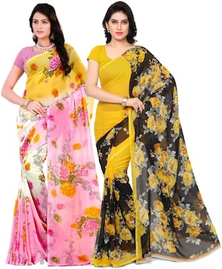 Anand Sarees Georgette Work Printed  Saree Multi