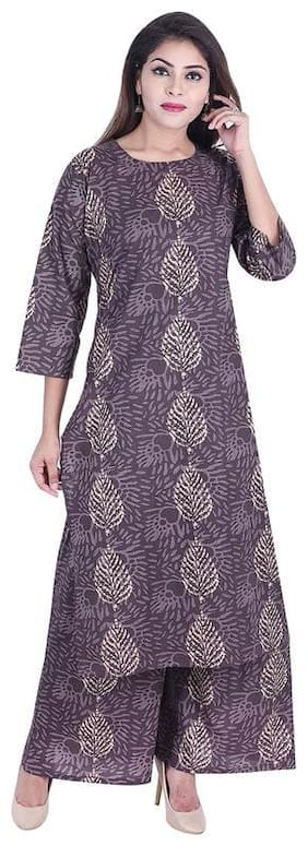 ANAND TRADING CO. Women Kurta and Palazzo Set Grey