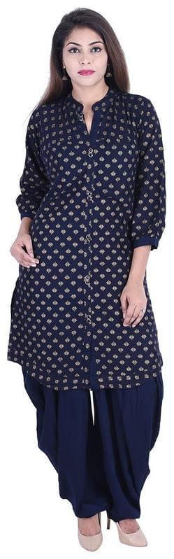 ANAND TRADING CO. Women Viscose Rayon Printed Kurta and Dhoti Pant Set -NavyBlue
