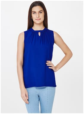 AND Blue Sleeveless High-neck Top