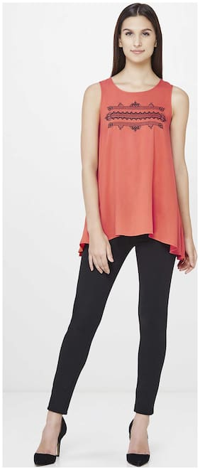 AND Women Rayon Printed - Regular top Red