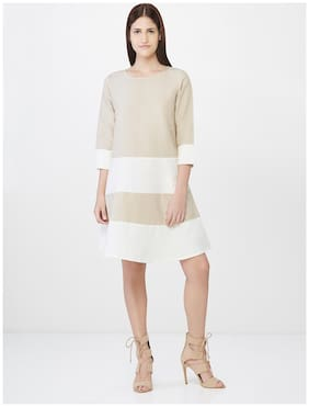 AND Cotton Solid A-line Dress White