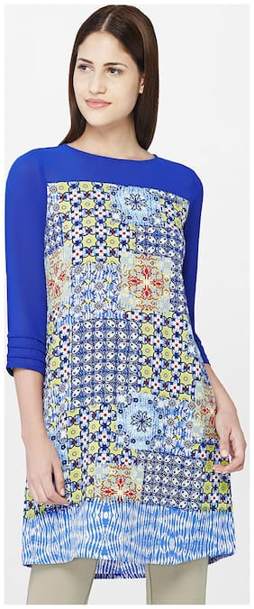 AND Women Blended Printed - Regular tunic Blue