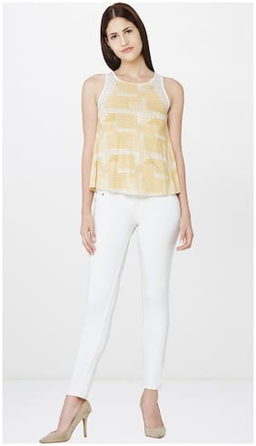 AND Women Polyester Striped - Regular top Beige