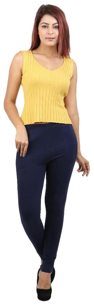 Pants Lycra Cotton Anekaant Women's Navy ZUZ4Iqnv