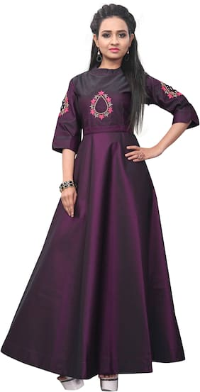 Angel Queen Women's Designer Italiyan Taffeta-Silk Heavy Khatli-Work And Hand-Work Party Wear Gown (Purple)