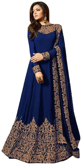 Angel Queen Georgette Regular Floral Gown - Blue