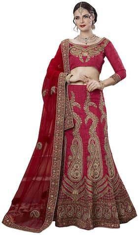 Angel Queen Silk A-line Lehenga Choli - Red
