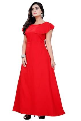Angel Queen Women Long Crepe Red Gown