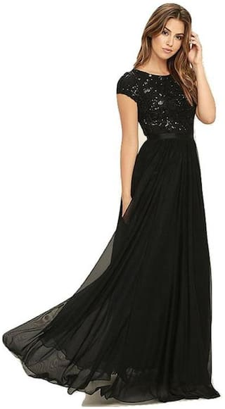 ANGEL QUEEN WOMEN'S TAFETTA SILK BLACK PARTY WEAR DESIGENR GOWN (ETHINIC WEAR GOWN)