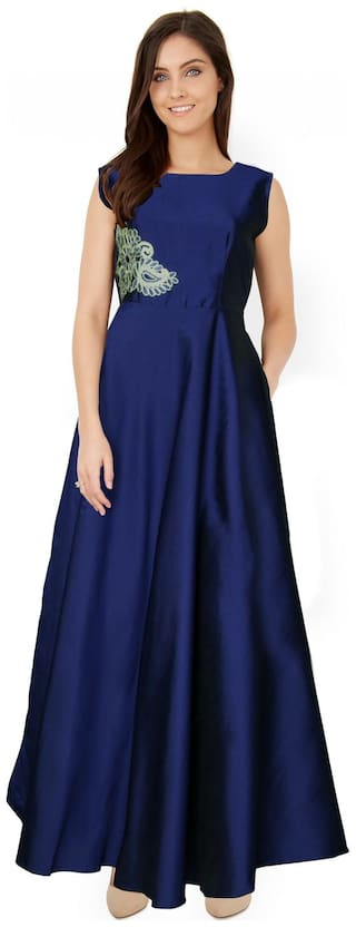 Angel Queen Silk Regular Printed Gown - Blue
