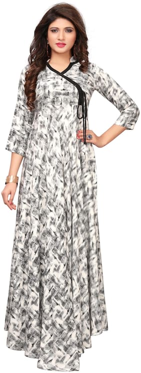 Angel Queen Women's Heavy Rayon Print Party Wear Anarkali Gown (Set_1)