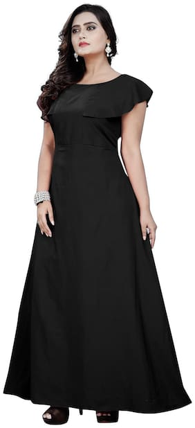 Angel Queen Women Crepe Gown -Black