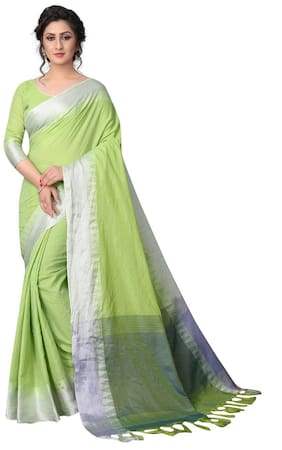 Angel Queen Linen Universal Zari work Saree - Green , With blouse