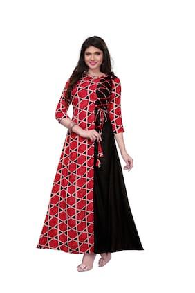 Angel Queen Women's Heavy Rayon Print Party Wear Anarkali Gown (Set_1)