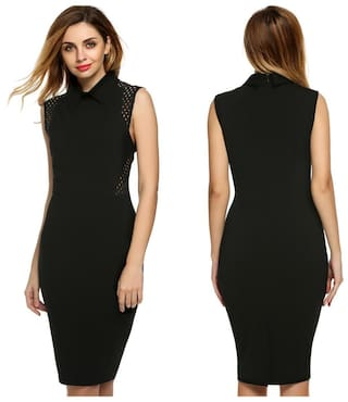 ANGVNS Women Sexy Lady Sleeveless Patchwork High Waist Bodycon Slim Casual Party Dress Black
