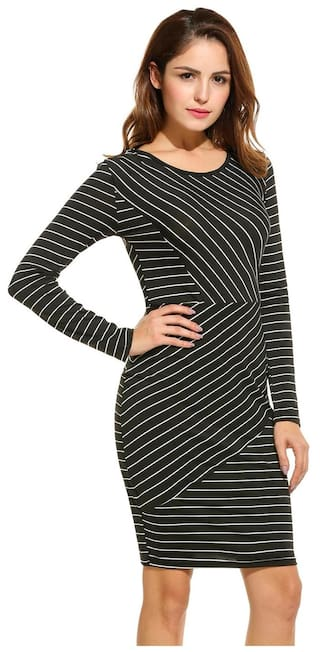 O Striped Casual Women ANGVNS Dress Dress Black Neck Long Sleeve Pq7Uavw