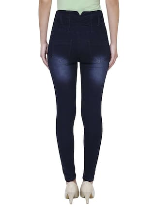Anicks Ankle Denim Length Women waist High Jeans for Blue Strechable Slimfit r7rFqHnA1