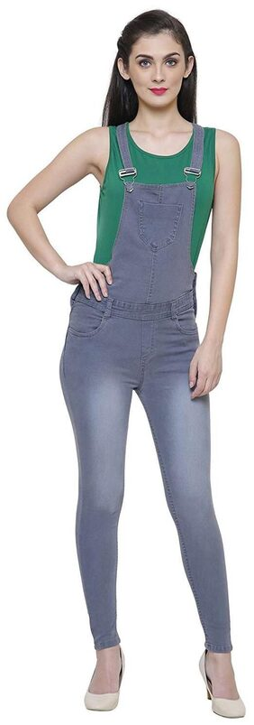 Anicks Denim Grey Strechable Dungaree for Women