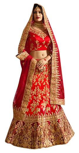Kreckon Silk Flared Lehenga Choli - Red