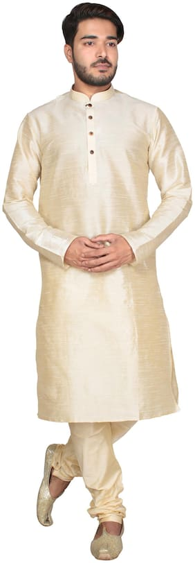 Anil Kumar Ajit Kumar Men's Cream Cotton Silk Kurta Pyjama Set