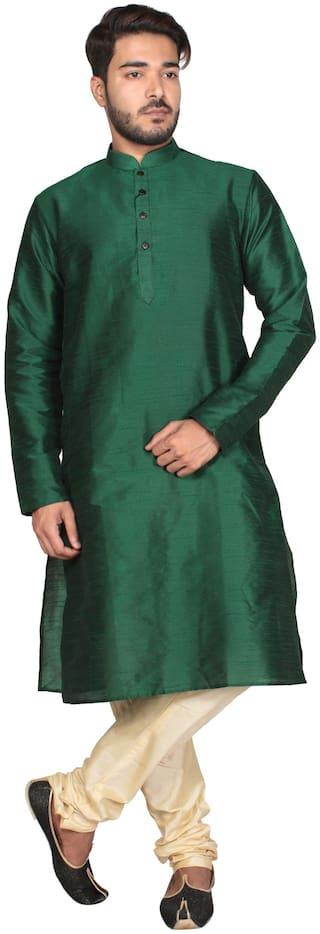 Anil Kumar Ajit Kumar Men's Dark Green Cotton Silk Kurta Pyjama Set
