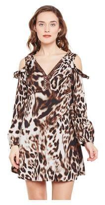 f5fea81ad2 Animal Print Cold Shoulder Dress