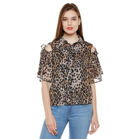 Animal Print Cold Shoulder Shirt