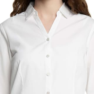 Women's by Solid Pantaloons White Annabelle Cotton Shirt Poly 8gnzpdqx