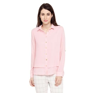 Annabelle by Pantaloons Women's Peach Solid Poly moss Shirt