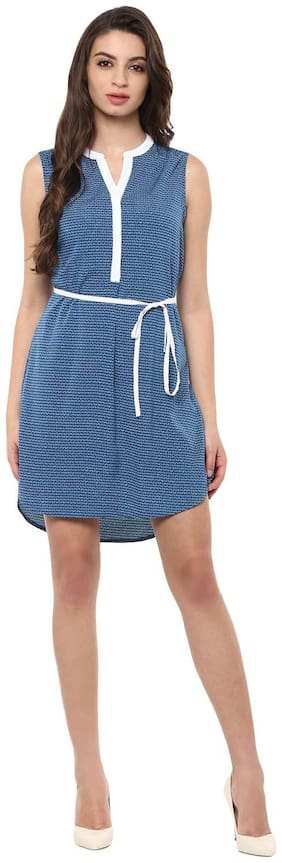 Annabelle By Pantaloons Polyester Solid A-line dress Blue