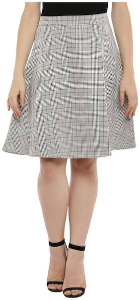 Annabelle By Pantaloons Printed Flared Skirt Midi Skirt - Grey