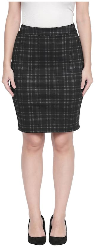 Annabelle By Pantaloons Checked Straight skirt Midi Skirt - Black