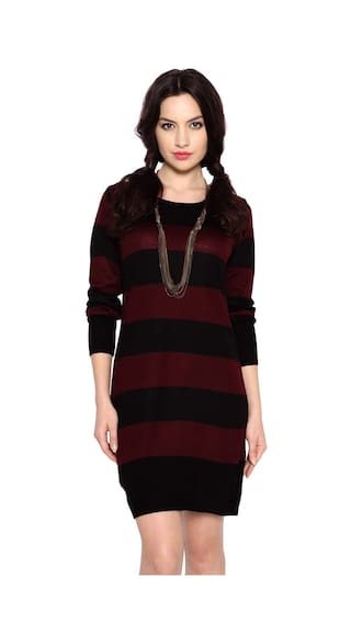 4dc9cdd06249 Buy Annabelle by Pantaloons Maroon Acrylic Dress Online at Low ...