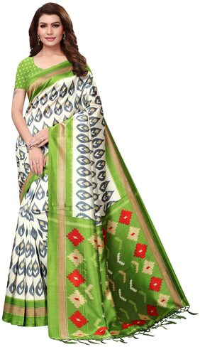 Anni Designer Women Green Color Mysore Silk Printed Saree Border Tassels With Blouse Piece