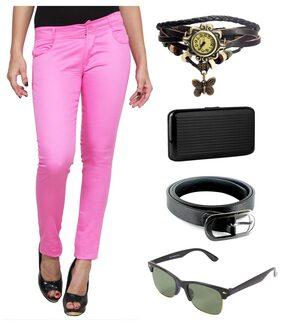 Ansh Fashion Wear Women's Strachable Lycra Chinos With Free Watch, Belt Sunglass & Card Holder