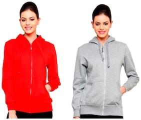 Ansh Fashion Wear Women's Solid Color Cotton Blend Hooded Full Sleeves Sweatshirt (Pack Of 2)