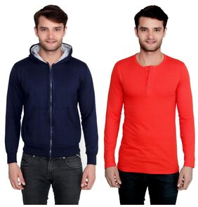 Ansh Fashion Wear Men's Solid Color Cotton Blend Full Hooded Sleeves Sweatshirt & Henley T-Shirt Pack Of 2