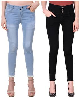 Ansh Fashion Wear Women Regular fit Mid rise Washed Jeans - Black & Blue