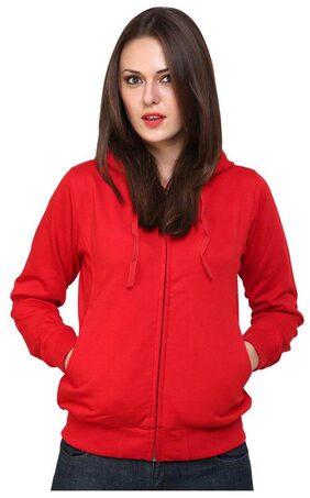 Ansh Fashion Wear Red Cotton Blend Hoodie