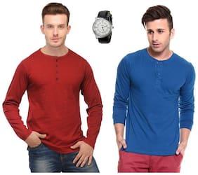 Ansh Fashion Wear Combo Of 2 Henley Full Cotton T-Shirt With Classic Watch