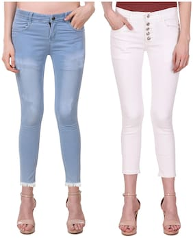 Ansh Fashion Wear Women Regular fit Mid rise Solid Jeans - White & Blue