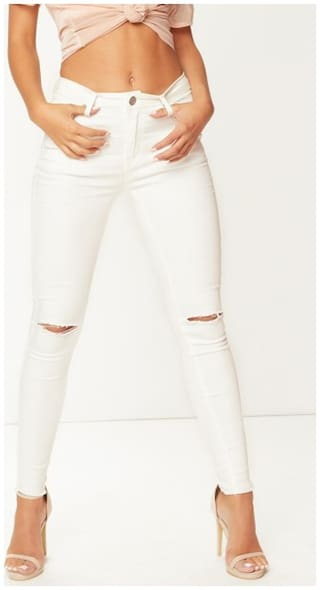 Ansh Fashion Wear Women Regular fit Mid rise Ripped Jeans - White