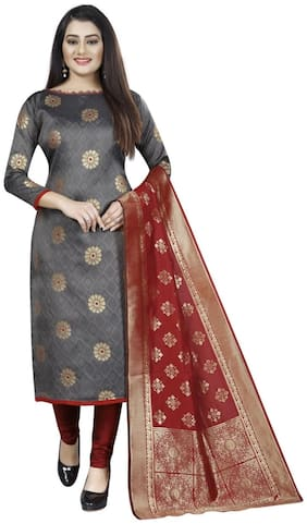 Anshukam Grey Unstitched Kurta with bottom & dupatta With dupatta Dress Material