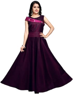 Anu Clothing Satin Purple Solid Only Gown  For Women