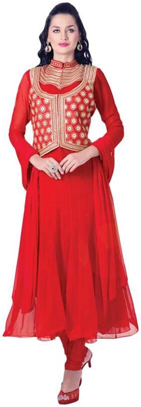Anurag Fabrics Mill Red Modal Dress Material