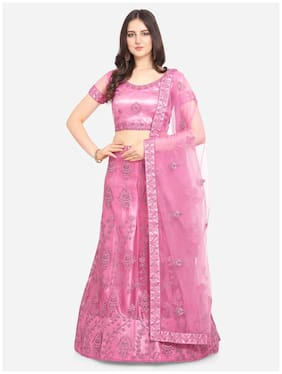 Anvith  Women Net Embroidered Pink Lehenga Choli