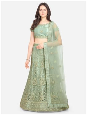 Anvith  Women Net Embroidered Green Lehenga Choli