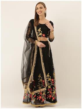Anvith  Women Net Embroidered Black Lehenga Choli